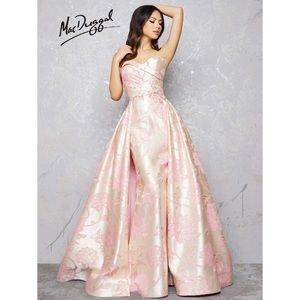 Mac Duggal couture floral overskirt gown 80717D